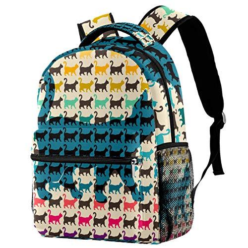 Gatti colorati con code curve zaino per adolescenti scuola libro borse da viaggio casual zaino