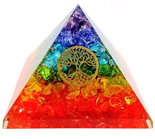 7 Chakra Crystal Tree of Life Orgone Pyramid Kit EMF Protection Meditation Yoga Energy Generator …