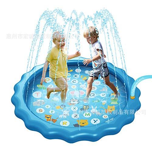 Aerlan Agua Piscina de Chapoteo para Niños Pequeños,Protección Ambiental Espesada Estera de rociado de Agua de PVC Piscina de rociado de Agua para niños al Aire Libre-C