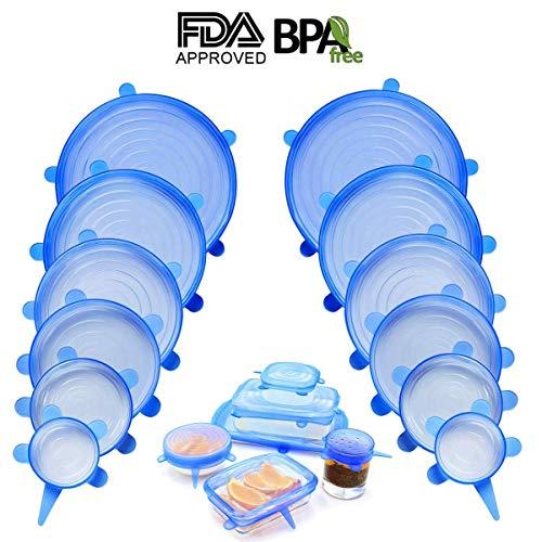 Lot de 12 couvercles extensibles en siliconededifférentestriplespour bol,garder les aliments frais,réutilisables,durables et extensibles pours'adapteràdifférentestriplespour couvertures de bol