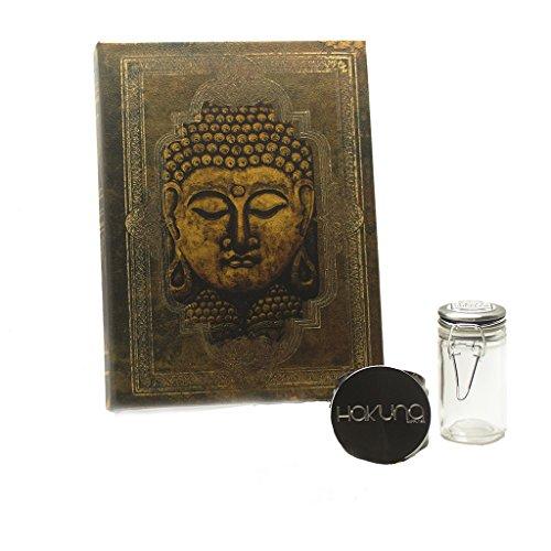 Hakuna Supply Magnet Book Stash Box Bundle - Hakuna 4pc Gunmetal Shredder + 1/8th oz Glass Latch Jar (L,'Zen' Buddha)