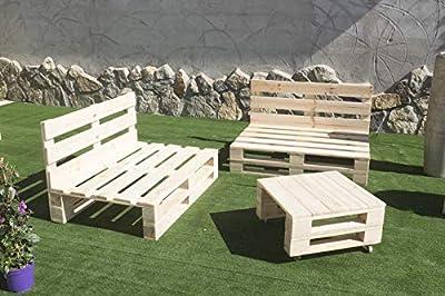 🌲LOS MATERIALES DE NUESTROS PALETS 🌲: Nuestros palets son fabricados con madera nueva maciza de pino de 1ª calidad, con lijado previo (no son palets reacondicionados, son nuevos). Conjunto 2 Sofas Palet Europeo 1 Mesa Interior/Exterior. 🌲DECORACIÓN I...