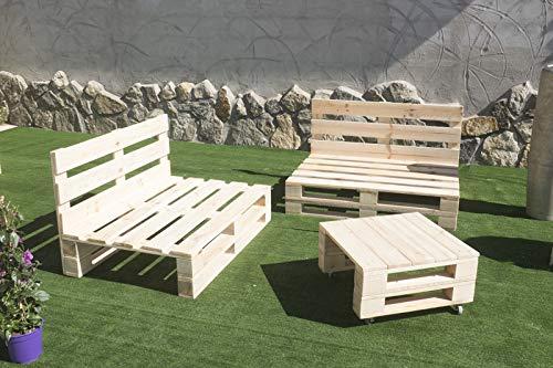 Conjunto 2X Sofa Palet 12Ocm x 80cm 1x Mesa 80cm x 50cm Lijado Y Cepillado -Interior/Exterior Nuevo-Natural