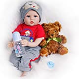 Yesteria Reborn Baby Doll, 22 Inch Realistic Silicone Baby Doll, Weighed Reborn Boy Doll in Red Car Outfit, with Accessories and Certificate of Adoption