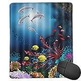 VINISATH Alfombrilla Raton Acuario Submarino Colorido Delfín Peces de mar Coral Alfombrilla Gaming Alfombrilla para computadora con Base de Goma Antideslizante,250×300×3mm
