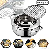 Stainless Steel Japanese-style Tempura Deep Fryer Pot with Thermometer And Oil Drip Rack...
