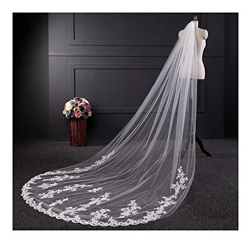 Bridal Wedding Veils White Ivory Lace Edge Bridal Veil Wedding Veil with Comb Wedding Accessories Gorgeous Bridal Tulle (Color : Ivory, Item Length : 300cm)
