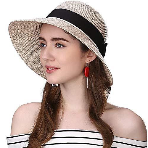 Comhats Protección UV plegable flexible de ala ancha (paja de cloche de Panamá) Sombrero de playa, accesorios de crucero ajustables de moda para Mujeres [marrón] [Grande 59CM]