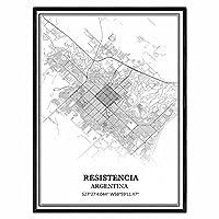 レシステンシアアルゼンチン地図ウォールアートキャンバス印刷ポスター アートワークフレームなし地図お土産贈り物室内装飾