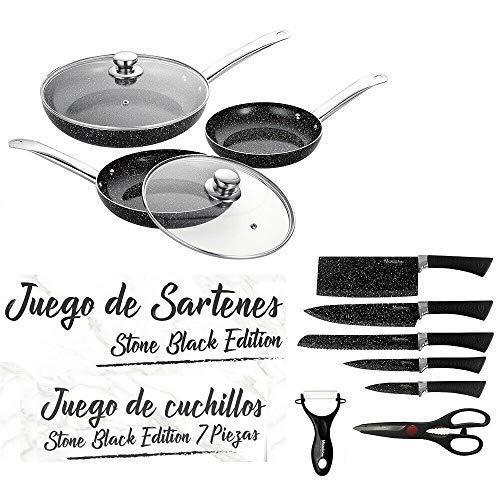 MAXELLPOWER Juego DE 3 SARTENES 2 Tapas Cuchillos Tijeras Color Negro Piedra Apto Horno