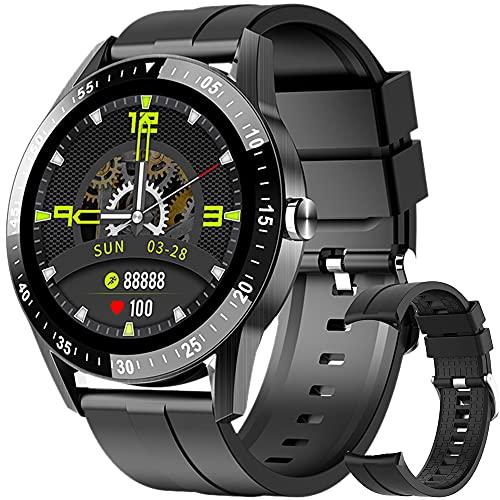 Reloj Inteligente, Smartwatch Impermeable IP68 para Hombre Mujer, Pulsera de Actividad Inteligente con 2 Correas Monitor de Sueño Contador de Caloría Pulsómetros Podómetro para Android iOS (Negro)