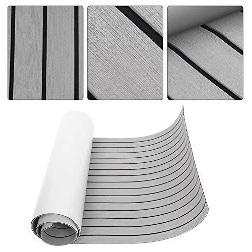 Gototop - Alfombrilla antideslizante de espuma EVA para suelos marinos retro con adhesivo, de madera de teca sintética para barcos, kayak, 240 x 90 x 0,6 cm (gris claro)