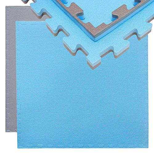 EYEPOWER 20mm Dicke Bodenschutz-Matte 90x90cm Trainingsmatte Puzzlematte erweiterbare Fitnessmatte inkl. Rand Grau Blau
