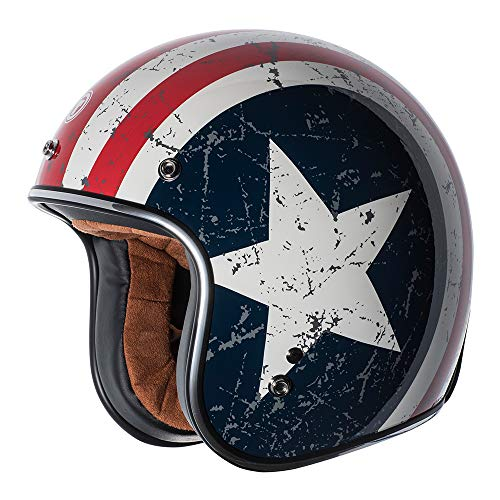 TORC (T50 Route 66) 3/4 Helmet with 'Rebel Star' Graphic (White, Medium)