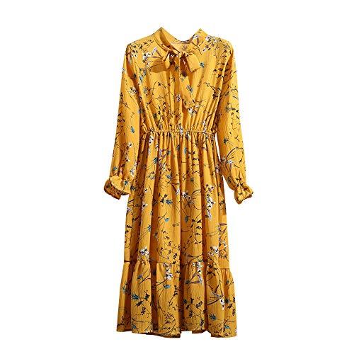 Xmiral Damen Kleid Floral Chiffon Langarm Druck Lässige Party Vintage Boho Maxi Kleider(L,Gelb 1)