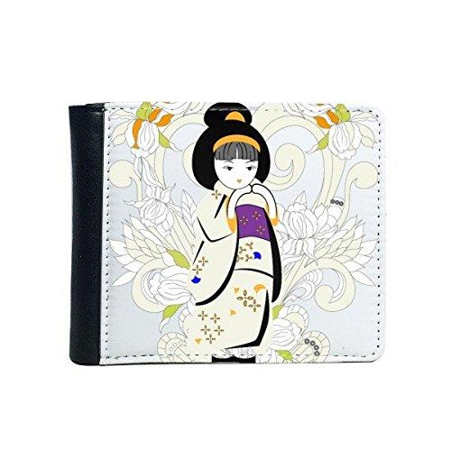 DIYthinker dames cultuur Japanse variopinto wekker van het meisje in Kimono-stijl Japanse autoradio Vibration Model Bifold Faux Leather Wallet Multi-Function Papier