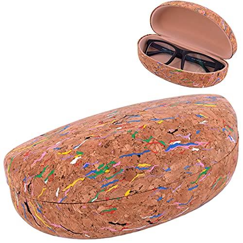 CORKCHO Estuche de Gafas, Funda De Gafas De Corcho Rígida Ovalada, Funda Dura para Guardar Las Gafas, 17x8x7cm, Ecológicas, Diseño Colores