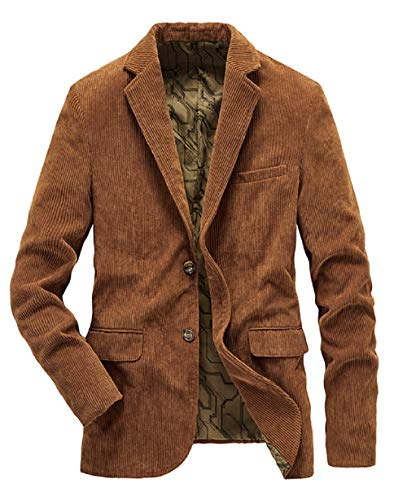 CHARTOU Men's Casual Western-Style Lightweight Slim Two-Buttons Cotton Suit Blazers Jacket (Large, Brown)