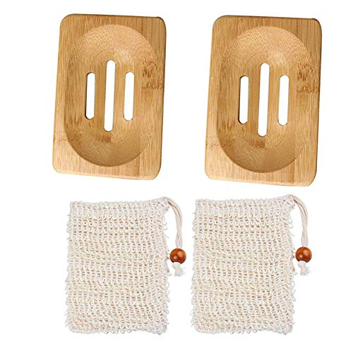 2 PCS Bamboo Soap Dishes, Natural Wooden Soap Dish with Drainage Storage Holder Eco Friendly Soap Dish Container Soap Saver Soap Box with 2 Pieces Sisal Soap Bag for Shower, Bathroom, Kitchen