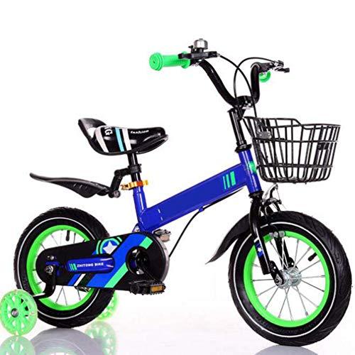 COUYY Neue Kinder Fahrrad Junge blinkendes Rad Baby Fahrrad Kinderwagen Männer Und Frauen Kinder Fahrrad,Blau,18...