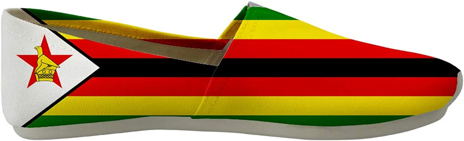 Owaheson Classic Canvas Slip-On Lightweight Driving shoes Soft Penny Loafers Men Women Zimbabwe Flag