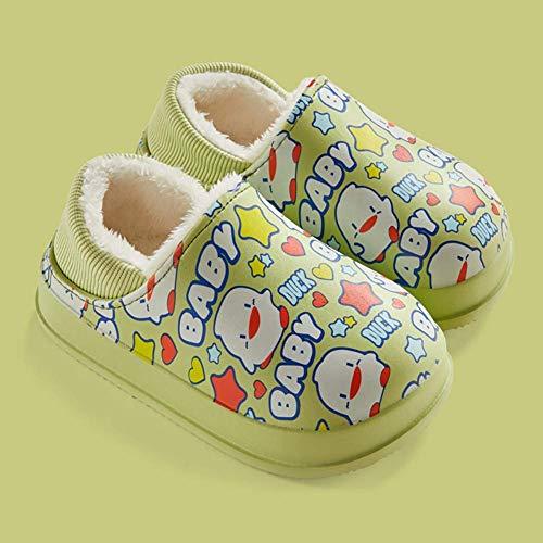 ADSE Zapatillas para niños Dibujos Animados, Zapatillas de algodón Impermeables, Zapatos cálidos de Invierno para niños pequeños Zapatillas cómodas de Felpa Zapatos de Dormitorio, Azul, 180