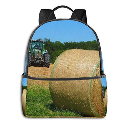 Rucksack Freizeit Damen Herren, Gras Heu Traktor Farm Campus Kinderrucksack, Daypack Schulrucksack Sportrucksack Tablet Tasche 15,6 Zoll
