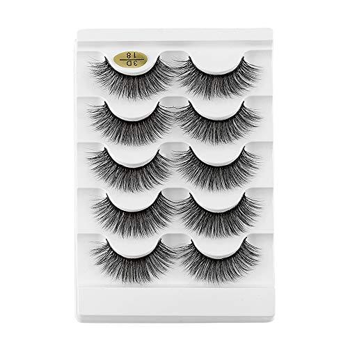 Faux Mink Fake Eyelashes 5 Pairs Wispy Flared Multi-styles Fluffy Multilayers Eye Lash Extension 3D Faux Mink Hair Criss-cross False Eyelashes(3D-18)