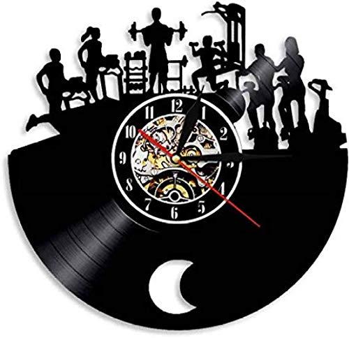 Reloj de pared Gimnasio Muscletech Reloj de pared Fitness Vintage Vinilo Record Reloj Culturista Decorativo Deporte Gimnasio Actividad Entrenamiento Decoración de Pared con Led