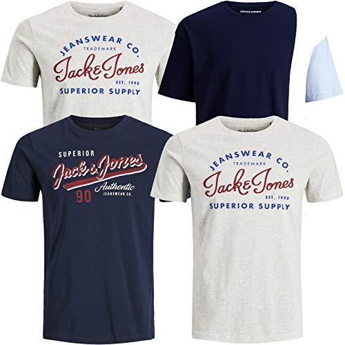 JACK & JONES Herren T-Shirt 4er Pack Big Size Übergröße Rundhals O-Neck Tee T Shirt (XXXL, 4er Paket # 02)