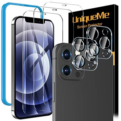 [3 Pack]UniqueMe Protector de Pantalla y [2 Pack] Protector de lente de cámara Compatible con iPhone 12 Pro (6.1 pulgadas), [9H Dureza][Sin Burbujas] HD Cristal Vidrio Templado