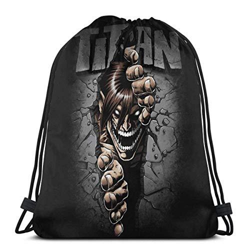Chezaskee Attack On Titan Eren Split Wall Drawstring Bags Classic Hombres y Mujeres Deportes Mochila Bolsa de Almacenamiento de Viaje Bolsa de Playa