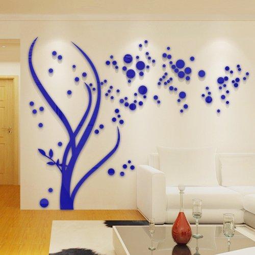 AungAoo Cristal Acrylique 3D Représentation Tridimensionnelle Mural Plat Toile Canapé Chambre Décoration Murale Décoration Murale,Film Arbre Bleu Foncé Sur La Gauche, Petite