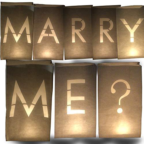 AMENOPH1S Marry ME - Set di lanterne di carta bianche, sacchetti per candele, lettere singole, decorazioni per matrimonio, forte infiammabile