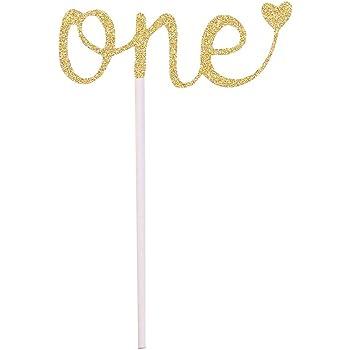 Spaufu 1x Decoraci/ón de Pastel Tarta Topper de Tarta para Cumplea/ños Boda Fiesta Forma Estrella Brillante Letra One Doble Cara