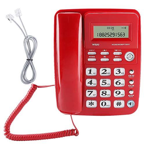 Teléfono Fijo inalámbrico, Soporte Multifuncional Llamadas con Manos Libres Teléfono residencial Teléfono de Escritorio de diseño sin batería Duradero para Oficina en casa(Rojo)