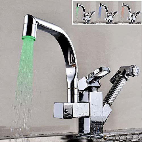Creatieve Verwijderbare Koper Keuken Kraan Voedsel Processor LED Temperatuur Controle Licht Spray Gun warm en Koud Water kraan