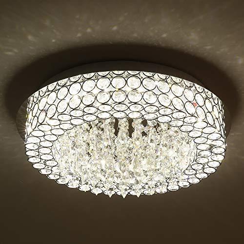 Horisun LED Ceiling Light Crystal Chandelier ETL Listed Dimmable Lighting Flush Mount with Modern Crystal Raindrop Pendant Lamp for Dining Room, Bathroom, Bedroom, Living Room, 4000K, 1980LM