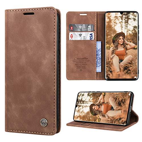 RuiPower Handyhülle für Huawei P30 Pro Hülle Premium Leder PU Flip Magnet Wallet Klapphülle Silikon Bumper Schutzhülle für Huawei P30 Pro/Huawei P30 Pro New Edition Tasche - Braun