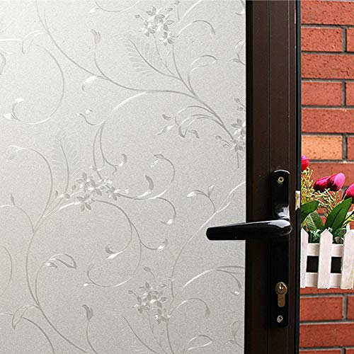 Mikomer Privacy Window Film Little Flowers Static Cling Glass Door Film, Non Adhesive Heat Control Anti UV Window Cling for Office and Home Decoration,17.5 inches by 78.7 inches