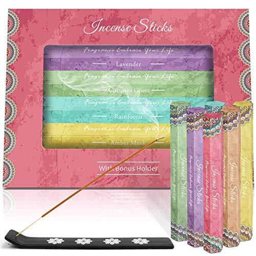 LA BELLEFÉE Incense Sticks 120 Sticks, Set of 6 - Boxes 41 grams Each, Lavender, Vanilla, Rainforest, Amber Musk, Coconut Grove, Perfect for Yoga, Aromatherapy, Relaxation, Meditation