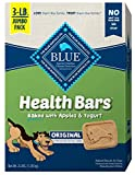 MADE WITH APPLES: BLUE Health Bars dog treats prove that a healthy treat can be tasty too. With ingredients like oatmeal, apples and yogurt, they feature the ingredients you 'll be proud to feed your furry family members. CRUNCHY DOG TREATS: For dogs...