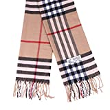Plaid Cashmere Feel Classic Soft Luxurious Winter Scarf For Men Women (Big Plaid Camel)