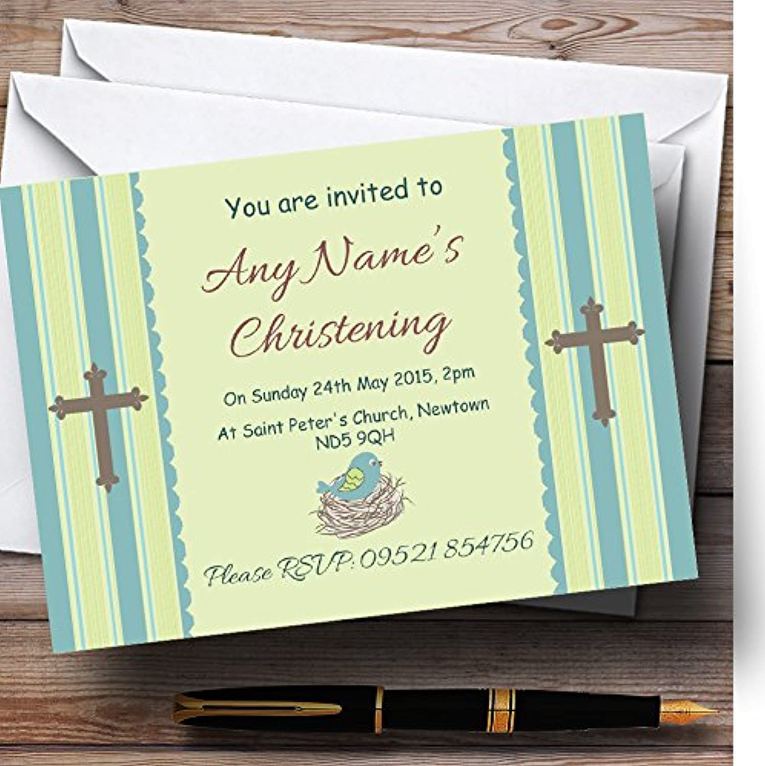 Birds In Nest Boy Christening Party Personalised Invitations   Invites & Envelopes