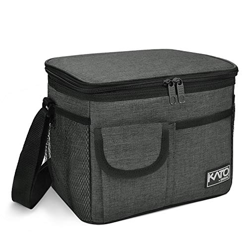 Insulated Lunch Box for Women Men, Leakproof Thermal Reusable Lunch Bag with 4 Pockets for Adult & Kids, Lunch Bag Cooler Tote for Office Work by Tirrinia, Charcoal
