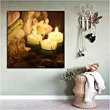 Cartel de la lona del arte de la naturaleza muerta Torre de la vela del masaje Imagen de la sensación pacífica para la decoración del hogar de la sala de estar de la sauna-40cm x 60cm Sin marco