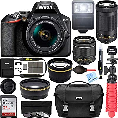 Nikon D3500 DSLR Camera w/AF-P DX 18-55mm VR and 70-300mm Double Zoom Lens Bundle with Travel Case, Wide Angle Lens, Telephoto Lens, Filter Sets, 32GB Memory Card and Accessories (11 Items) from Nikon