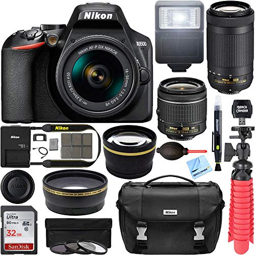 Nikon D3500 DSLR Camera w/AF-P DX 18-55mm VR and 70-300mm Double Zoom Lens Bundle with Travel Case,...