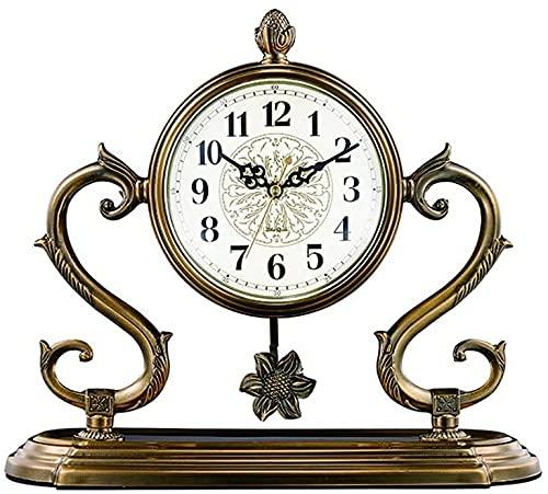 Scultura,13 8 Pulgadas / Sala De Estar Sala De Estudio / Reloj De Chimenea del Hogar / Reloj De Péndulo De Escritorio / Reloj De Mesa De Dormitorio / Reloj De Mesa Retro con Movimiento Silencioso