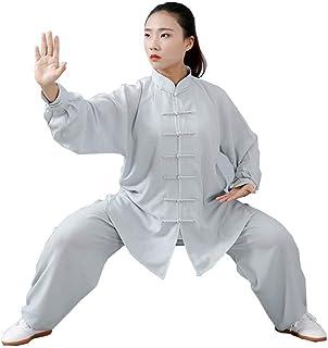 太極拳スーツ女性用少林寺武術トレーニング制服綿と麻格闘技服夏ショー競争衣装,Grey-XXL